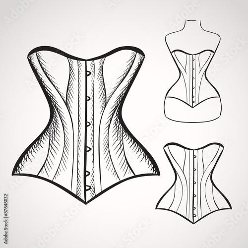 Hand drawn corset Fototapeta