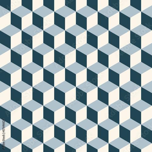 Vintage cubes 3d pattern background. Retro vector pattern.