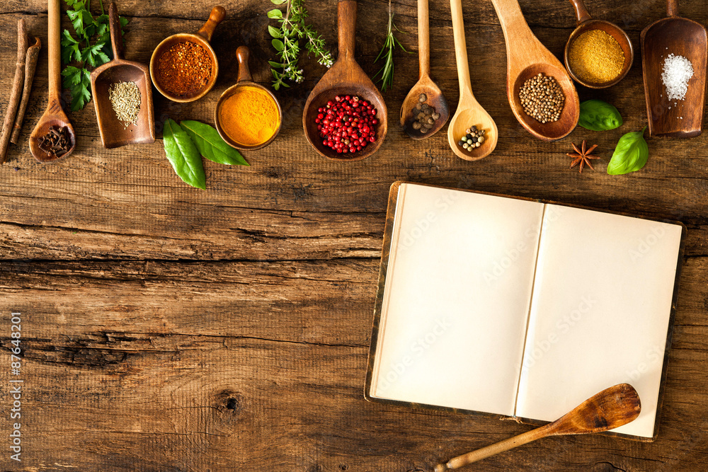 Fototapety, obrazy: Blank cookbook and spices