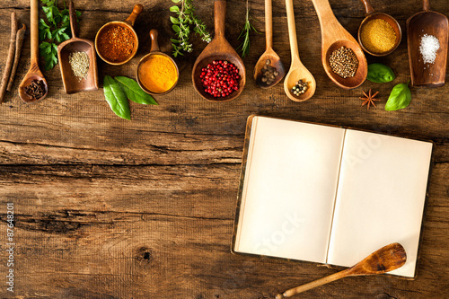 Canvas Prints Spices Blank cookbook and spices