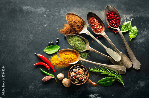 Various herbs and spices Canvas Print