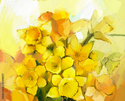 Still life of yellow and orange color flowers Wallpaper Mural