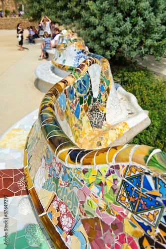 Photo  Main Terrace at Parc Guell in Barcelona, Spain