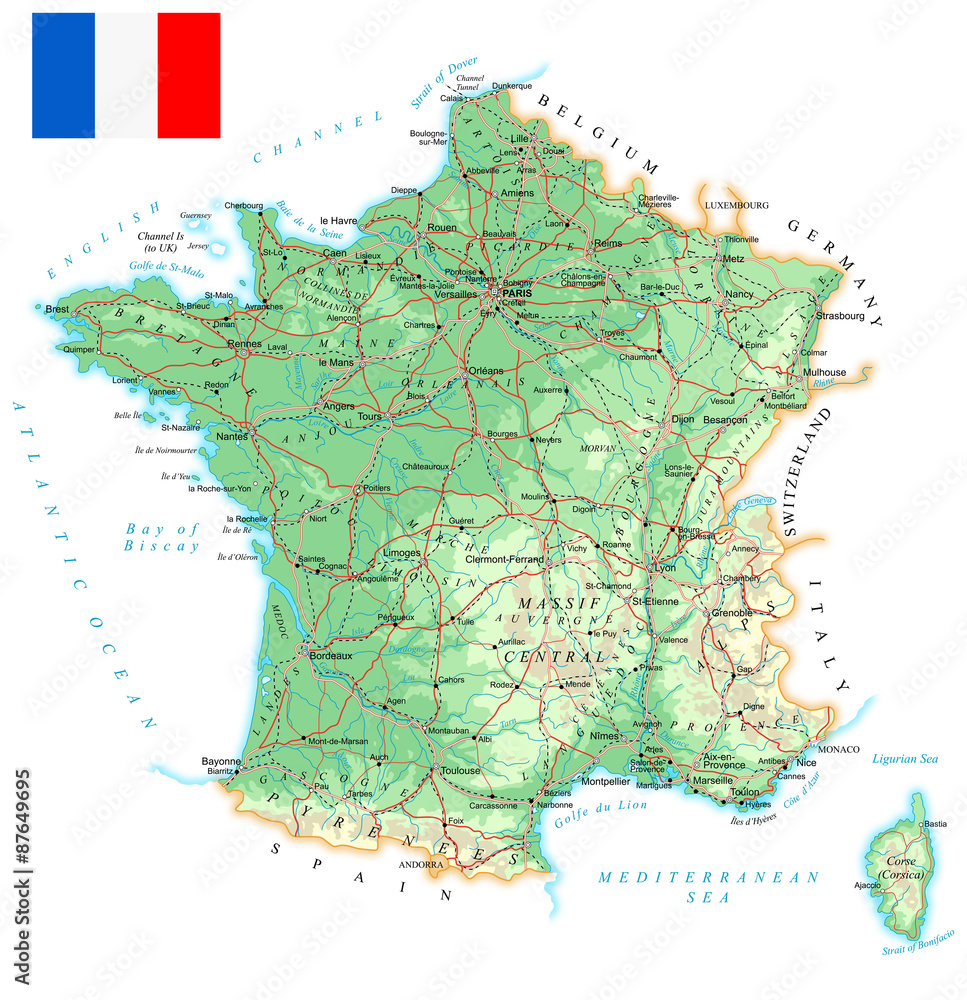 Photo Art Print France Detailed Topographic Map Illustration
