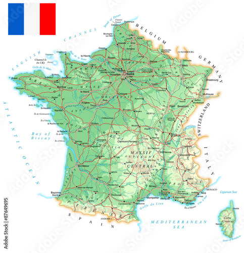 France - detailed topographic map - illustration Fototapeta