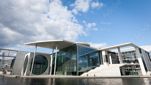 Foto op Canvas Brussel The Marie Elizabeth-Lunder building, Berlin, Germany. The government building is a parliamentary library and archive and creates a futuristic landmark on the banks of the River Spree.