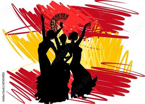Foto  Flamenco dancer over Spanish Flag Background