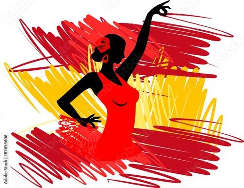 Photo  Flamenco dancer over Spanish Flag Background