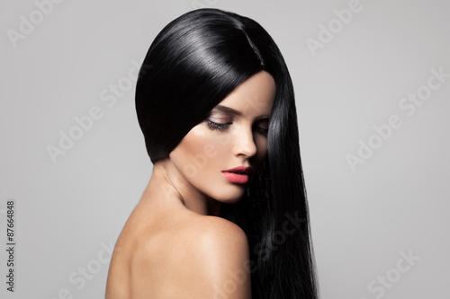 Hair. Beautiful Brunette Girl. Healthy Long Hair. Beauty Model W Canvas Print