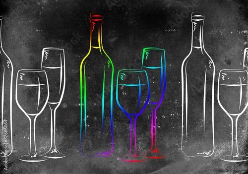 ilustracja-wino-kielisszek-do-wina-butelka-wina-kolorowe-czarno-biale