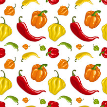 Seamless Vector Pattern With Chili Peppers