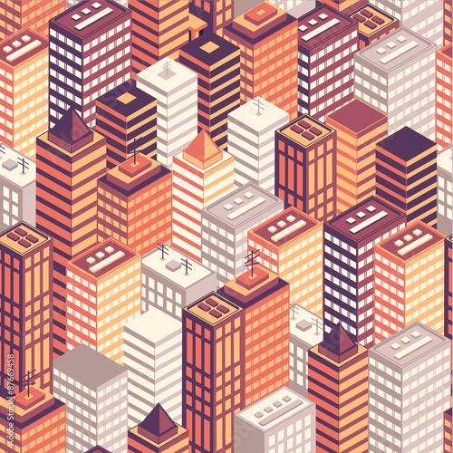 Tapety o tematyce podróżniczej kolorowe-plaskie-izometryczne-miasto-wzor