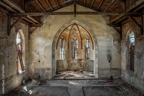 The hollow interior of an old Christian church