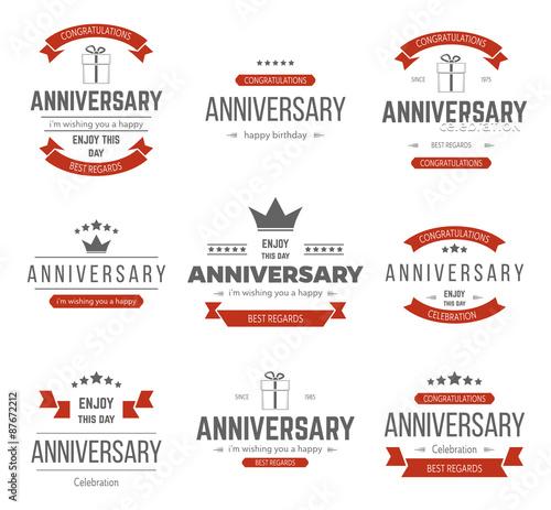 Foto Vector set of anniversary signs, symbols