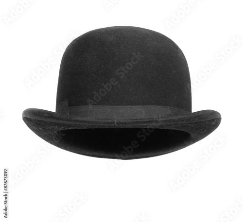 Fototapeta Black bowler hat isolated on white background. obraz