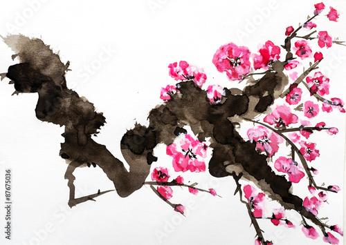 akwarela-rozowe-kwiaty-na-galezi