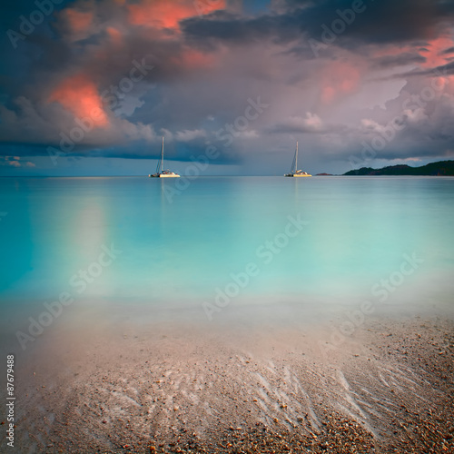 Fotografie, Obraz  Seychelles lagoon with clean sand with stones and with a clear turquoise sea