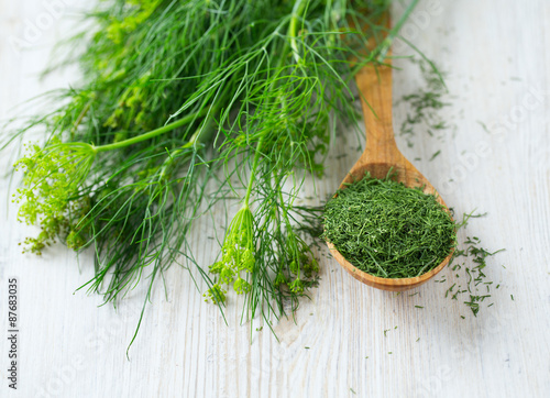 Stampa su Tela dried dill in a wooden spoon