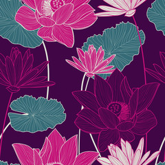 FototapetaVector seamless pattern with beautiful pink lotus flower and gre