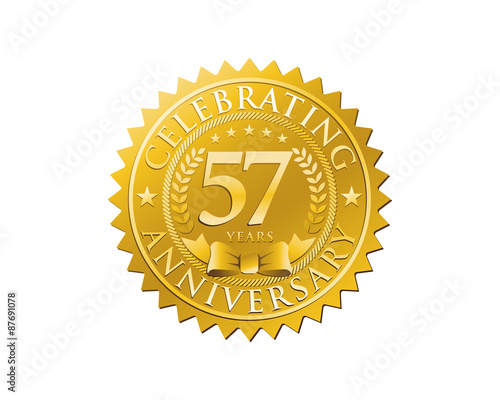 Photo  anniversary logo golden emblem 57