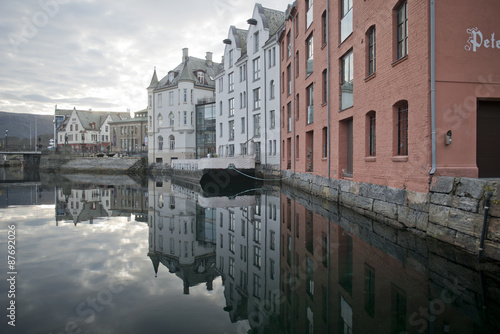 City on the water Reflections in Alesund, Norway