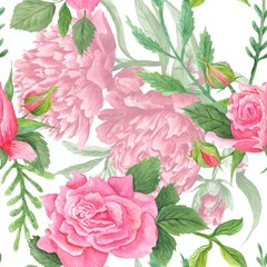 Fototapeta Shabby Chic Watercolor Peony and Rose Pattern