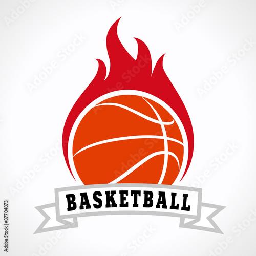 plakat koszykówka ogień logo