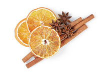 Dried Oranges With Cinnamon And Anise, Isolated On White