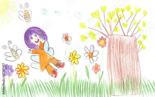 Staande foto Hoogte schaal Child drawing fairy of a tale
