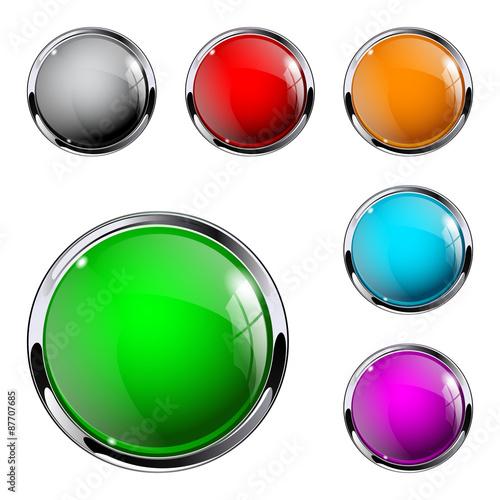 Fotografie, Obraz  Glass round button.