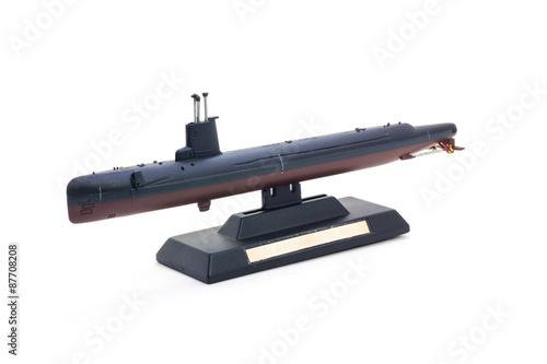 Photo  World war II submarine model toy isolate on white background