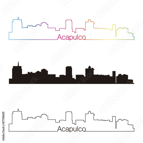 Fotografija  Acapulco skyline linear style with rainbow