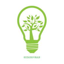 Ecology Bulb, Green Eco Concept, Tree Inside Light Bulb Vector