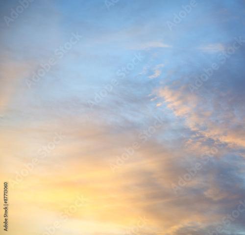 Fototapeta light  the sunrise in  colored sky white soft clouds and abstrac obraz na płótnie