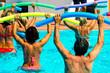 people doing water aerobics in a pool