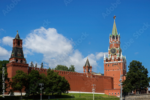 Wall Murals Moscow Spasskaya Tower with clock in Moscow Kremlin, Russia