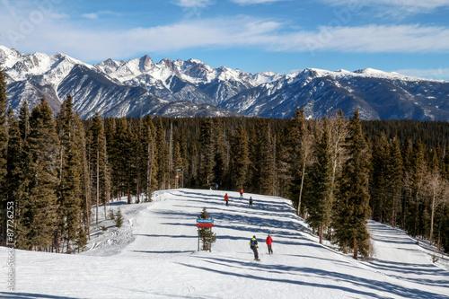 Skiers going down a ski run at Purgatory in Durango, Colorado Canvas Print