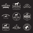 vector set of premium horse meat labels, badges and design elements