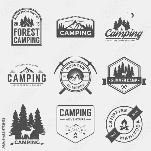 Stampa su Tela vector set of camping and outdoor adventure vintage logos