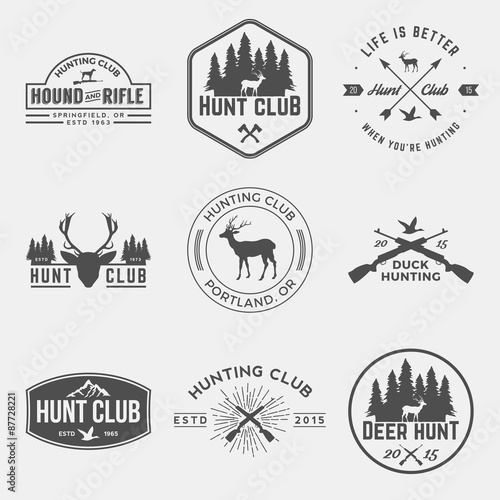 Photo vector set of hunting club labels, badges and design elements