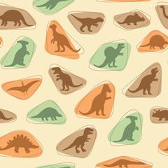 fototapeta sylwetki dinozaurów, ilustracji zwierząt, retro