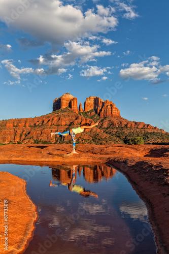 Acrylic Prints Woman Practicing Yoga at Scenic Sedona Arizona