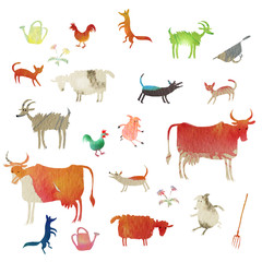Fototapeta set of watercolor farm animals