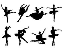 Black Silhouettes Of  Ballerin...