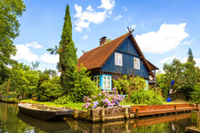 Beautiful Old Half-timbered House On A Water Canal In The Spreewald, Brandenburg, Germany