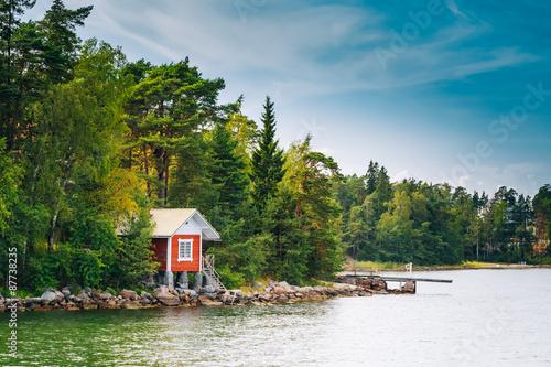 Garden Poster Scandinavia Red Finnish Wooden Bath Sauna Log Cabin On Island In Summer