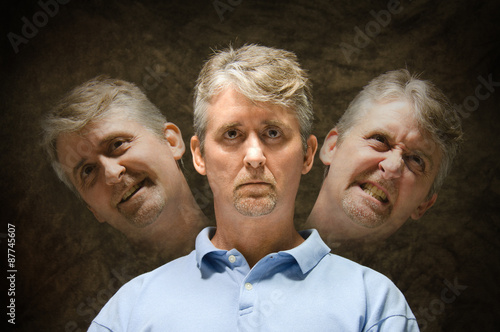 Photo Bipolar mentally ill split personality depiction