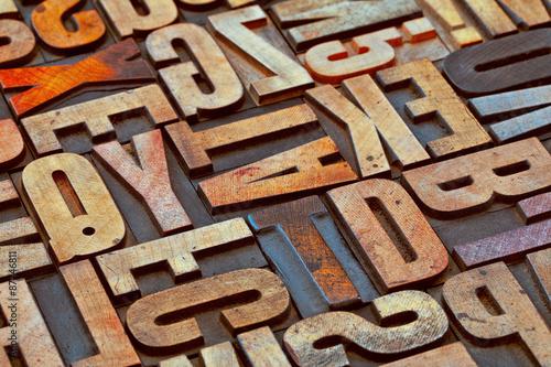 Fotografie, Obraz  Abeceda abstraktní grunge dřeva tyoe