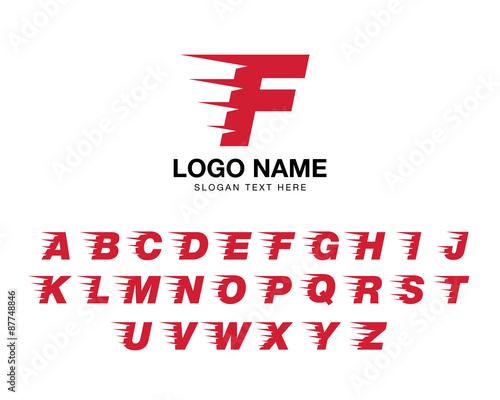 Photo  alphabet moving logo set red