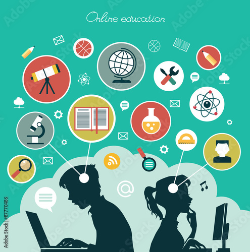 Fototapety, obrazy: Concept of online education
